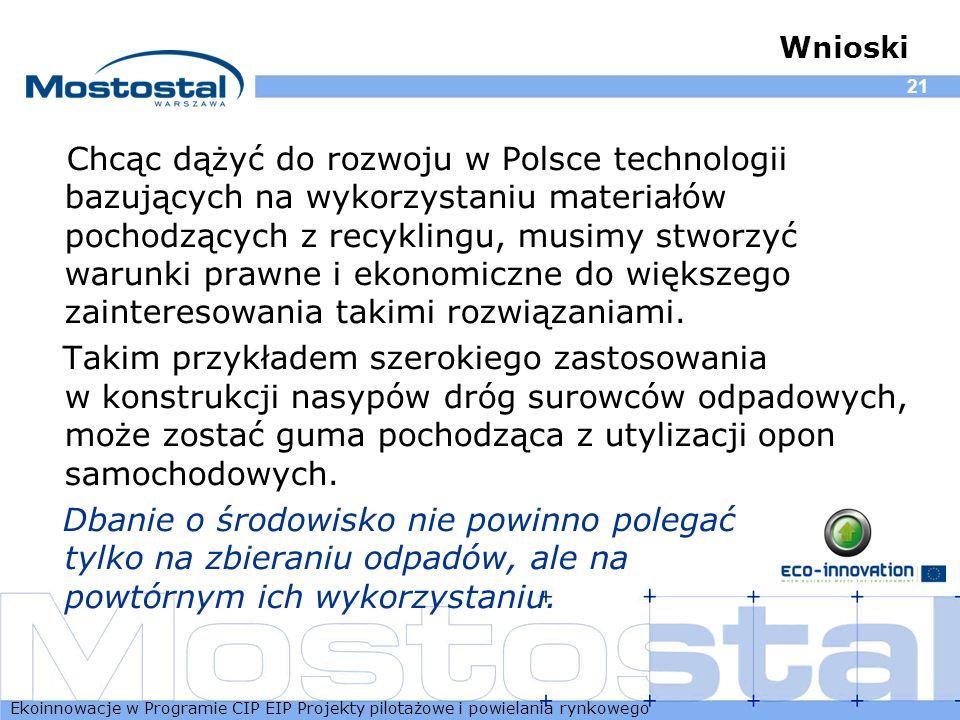 Ekoinnowacje w Programie CIP EIP Projekty pilotażowe i powielania rynkowego 21 Wnioski Chcąc dążyć do rozwoju w Polsce technologii bazujących na wykor