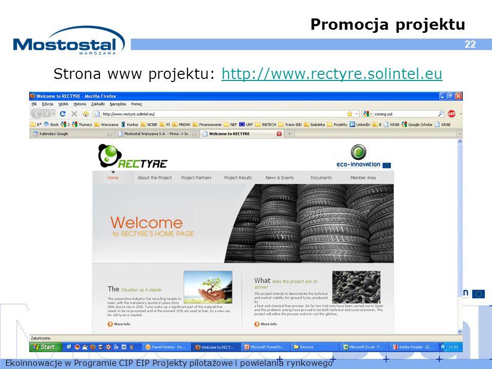 Ekoinnowacje w Programie CIP EIP Projekty pilotażowe i powielania rynkowego 22 Promocja projektu Strona www projektu: http://www.rectyre.solintel.euht