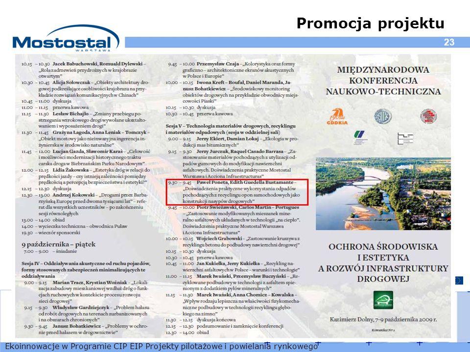 Ekoinnowacje w Programie CIP EIP Projekty pilotażowe i powielania rynkowego 23 Promocja projektu