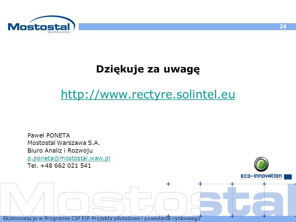 Ekoinnowacje w Programie CIP EIP Projekty pilotażowe i powielania rynkowego 24 Dziękuje za uwagę http://www.rectyre.solintel.eu Paweł PONETA Mostostal
