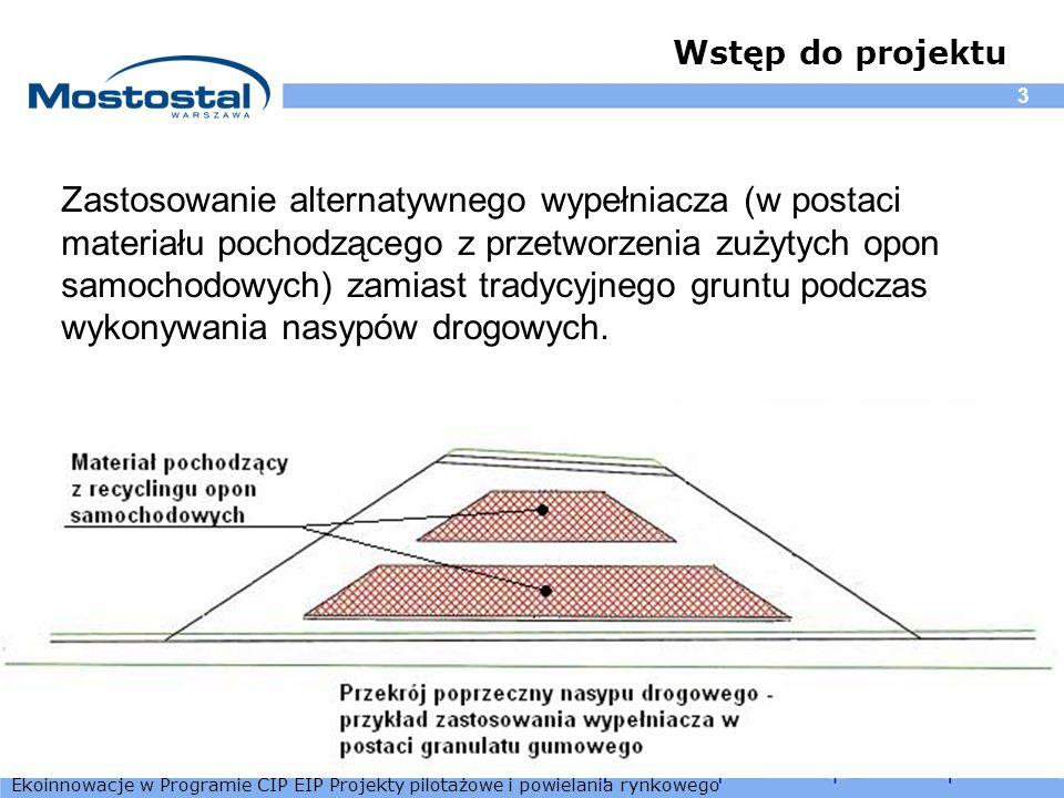 Ekoinnowacje w Programie CIP EIP Projekty pilotażowe i powielania rynkowego 3 Wstęp do projektu Zastosowanie alternatywnego wypełniacza (w postaci mat
