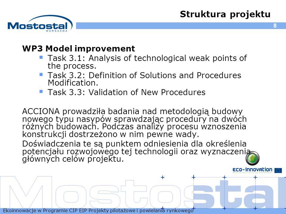 Ekoinnowacje w Programie CIP EIP Projekty pilotażowe i powielania rynkowego 8 Struktura projektu WP3 Model improvement Task 3.1: Analysis of technolog