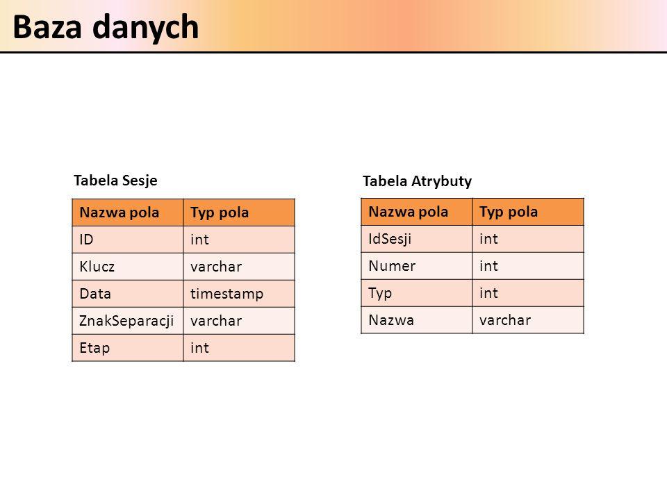 Baza danych Nazwa polaTyp pola IDint Kluczvarchar Datatimestamp ZnakSeparacjivarchar Etapint Nazwa polaTyp pola IdSesjiint Numerint Typint Nazwavarcha