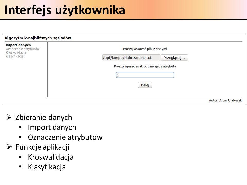 Interfejs użytkownika Zbieranie danych Import danych Oznaczenie atrybutów Funkcje aplikacji Kroswalidacja Klasyfikacja