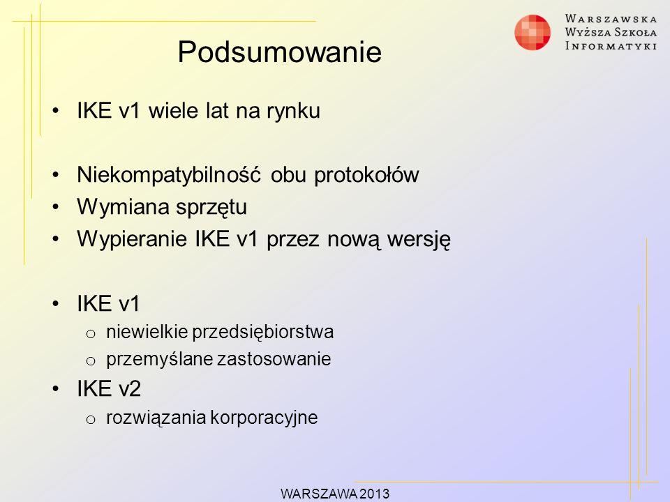 Podsumowanie IKE v1 wiele lat na rynku Niekompatybilność obu protokołów Wymiana sprzętu Wypieranie IKE v1 przez nową wersję IKE v1 o niewielkie przedsiębiorstwa o przemyślane zastosowanie IKE v2 o rozwiązania korporacyjne WARSZAWA 2013