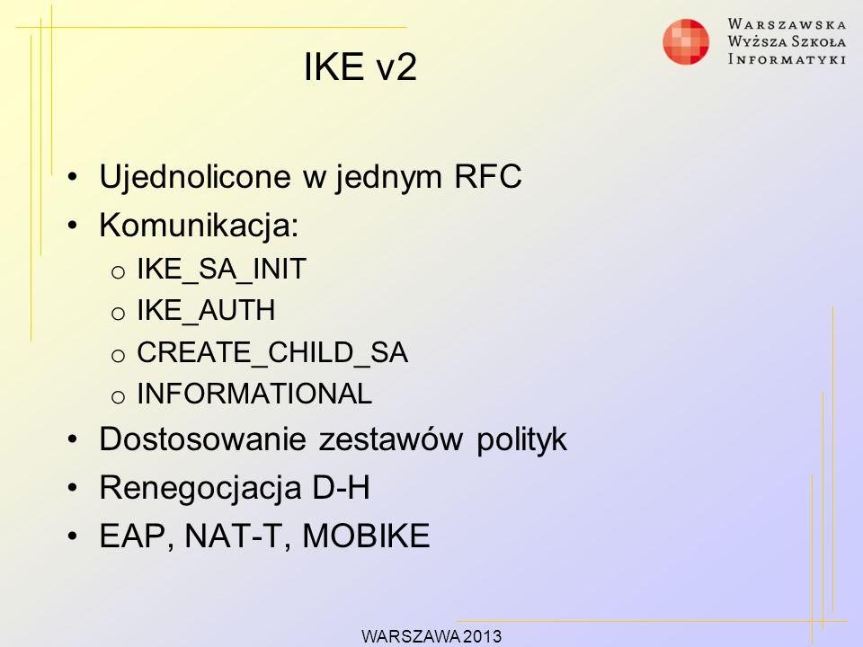 IKE v2 Ujednolicone w jednym RFC Komunikacja: o IKE_SA_INIT o IKE_AUTH o CREATE_CHILD_SA o INFORMATIONAL Dostosowanie zestawów polityk Renegocjacja D-H EAP, NAT-T, MOBIKE WARSZAWA 2013