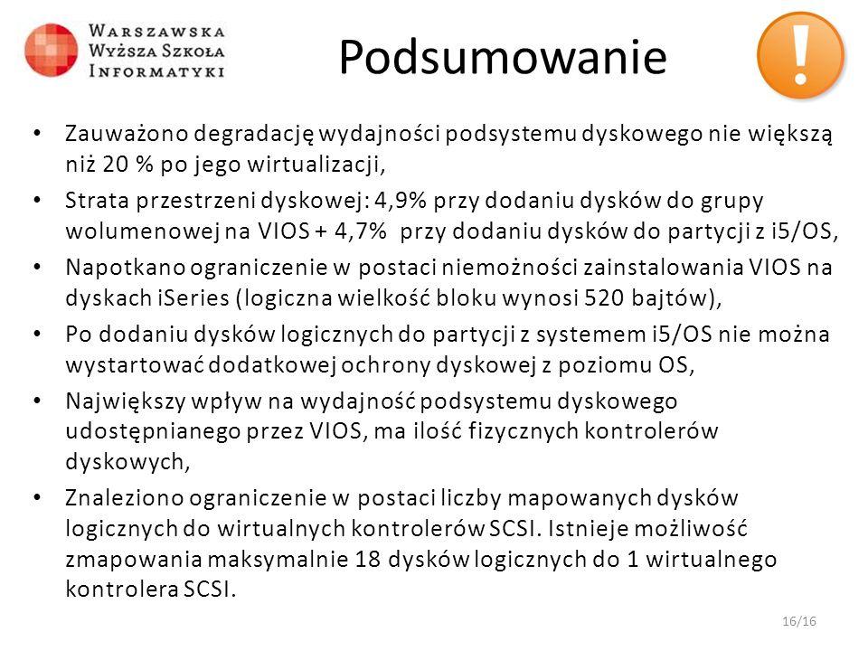 Podsumowanie Zauważono degradację wydajności podsystemu dyskowego nie większą niż 20 % po jego wirtualizacji, Strata przestrzeni dyskowej: 4,9% przy d