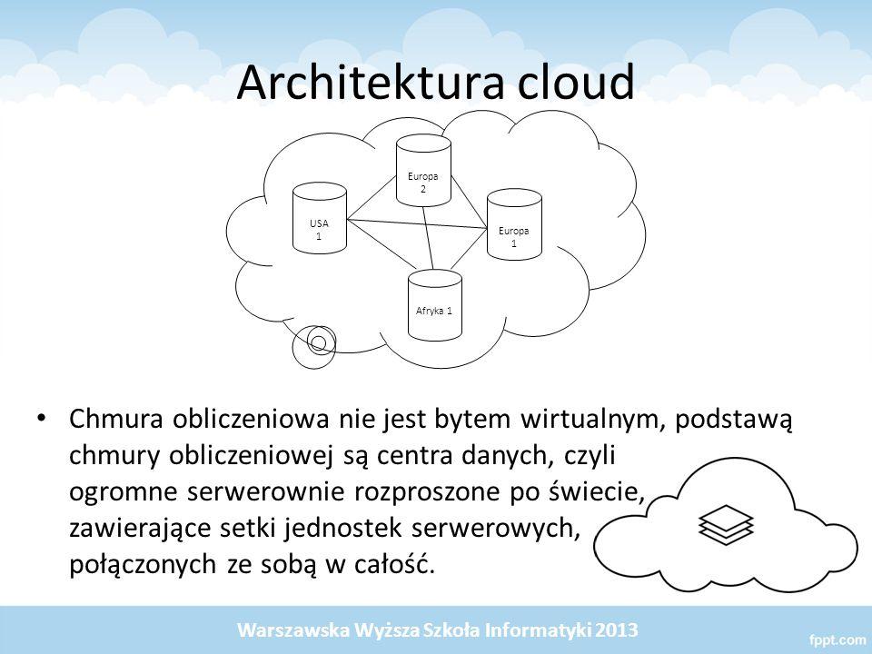 Architektura cloud Chmura obliczeniowa nie jest bytem wirtualnym, podstawą chmury obliczeniowej są centra danych, czyli ogromne serwerownie rozproszone po świecie, zawierające setki jednostek serwerowych, połączonych ze sobą w całość.