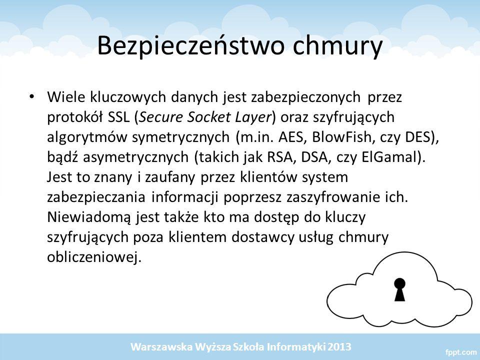 Bezpieczeństwo chmury Wiele kluczowych danych jest zabezpieczonych przez protokół SSL (Secure Socket Layer) oraz szyfrujących algorytmów symetrycznych