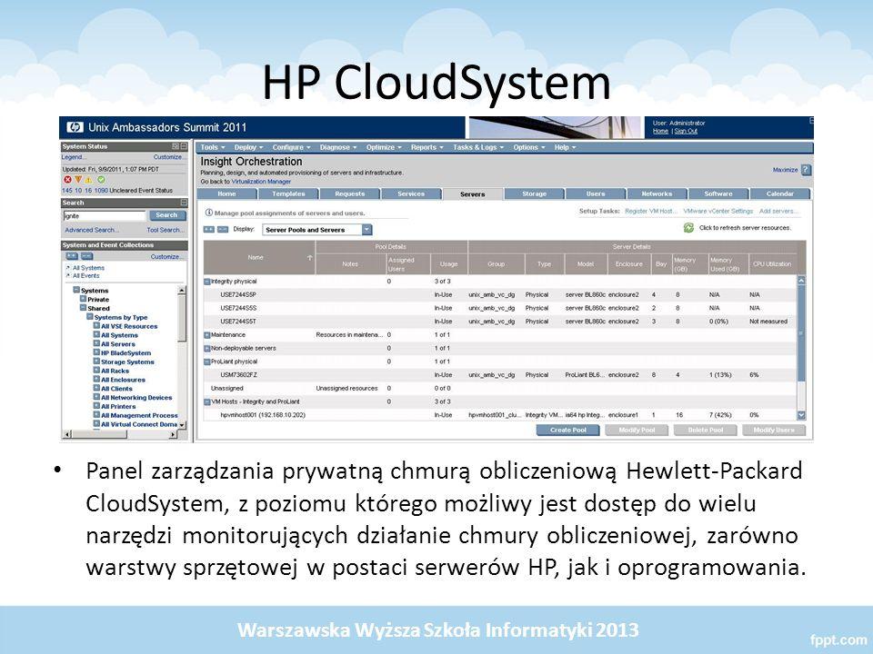 HP CloudSystem Panel zarządzania prywatną chmurą obliczeniową Hewlett-Packard CloudSystem, z poziomu którego możliwy jest dostęp do wielu narzędzi mon