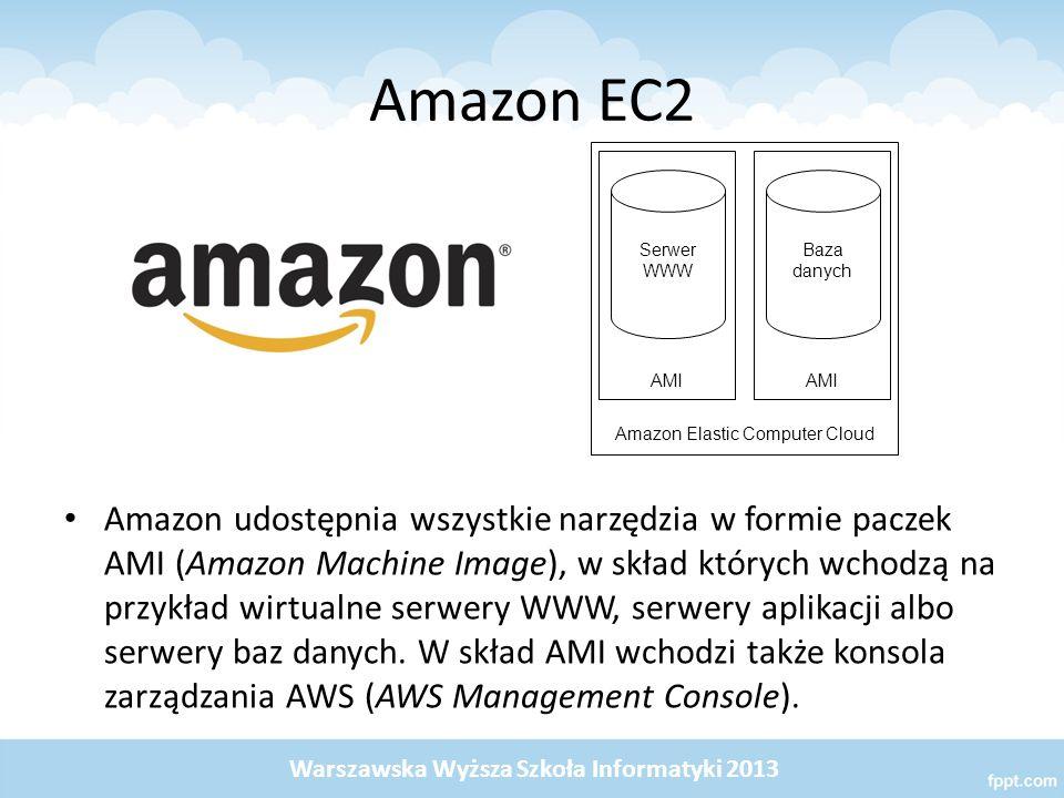 Amazon EC2 Amazon udostępnia wszystkie narzędzia w formie paczek AMI (Amazon Machine Image), w skład których wchodzą na przykład wirtualne serwery WWW, serwery aplikacji albo serwery baz danych.