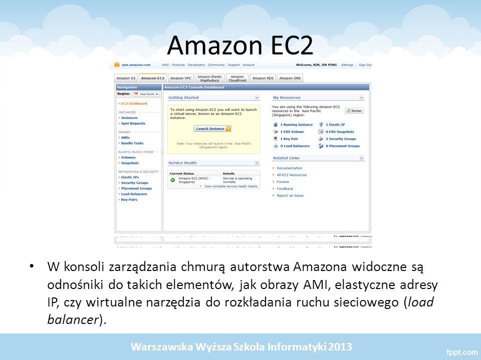 Amazon EC2 W konsoli zarządzania chmurą autorstwa Amazona widoczne są odnośniki do takich elementów, jak obrazy AMI, elastyczne adresy IP, czy wirtualne narzędzia do rozkładania ruchu sieciowego (load balancer).