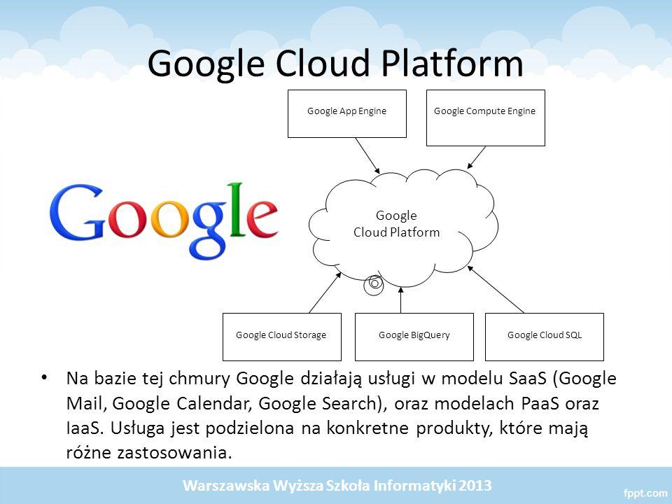 Google Cloud Platform Na bazie tej chmury Google działają usługi w modelu SaaS (Google Mail, Google Calendar, Google Search), oraz modelach PaaS oraz IaaS.