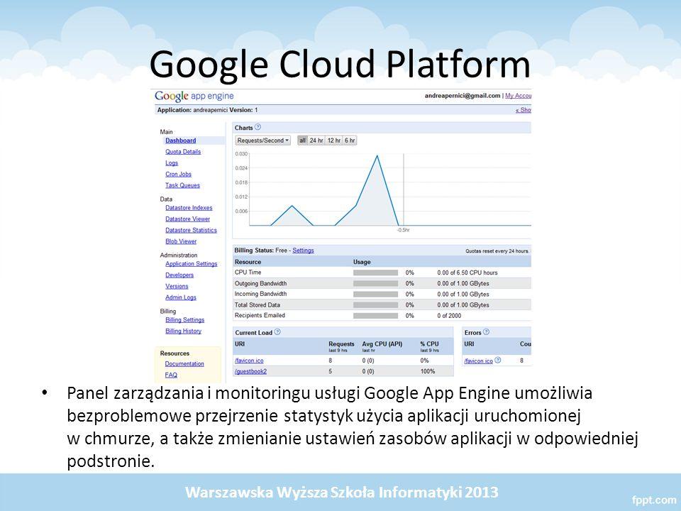 Google Cloud Platform Panel zarządzania i monitoringu usługi Google App Engine umożliwia bezproblemowe przejrzenie statystyk użycia aplikacji uruchomionej w chmurze, a także zmienianie ustawień zasobów aplikacji w odpowiedniej podstronie.