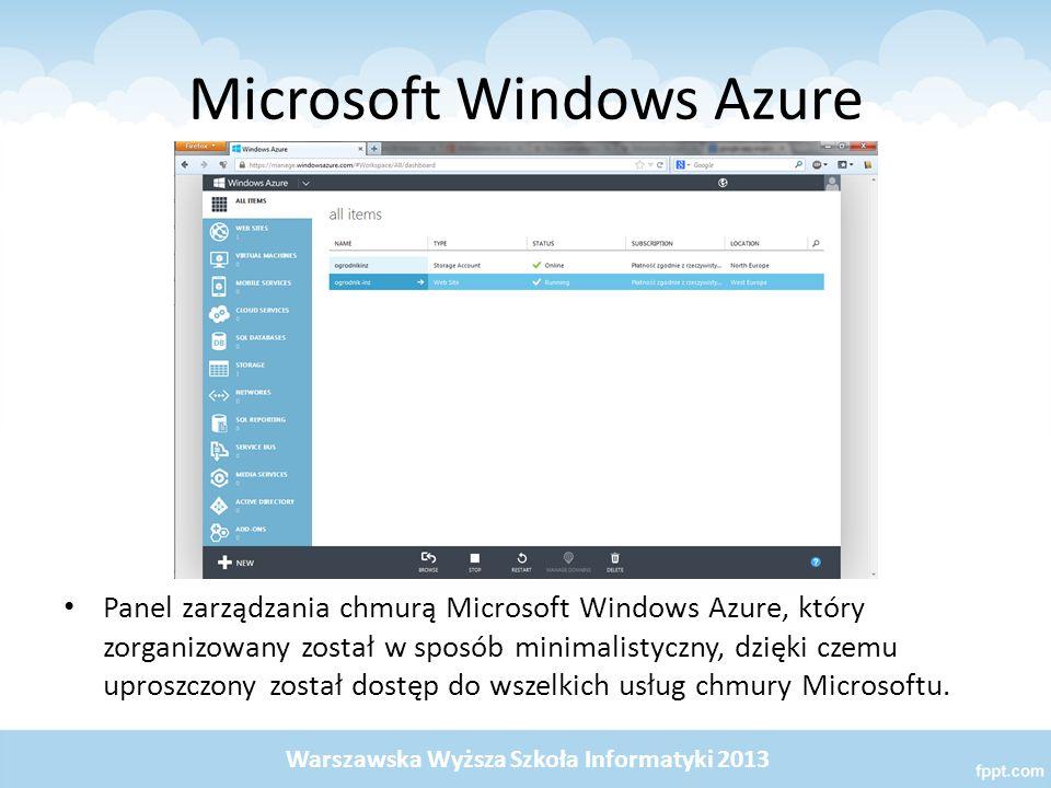 Microsoft Windows Azure Panel zarządzania chmurą Microsoft Windows Azure, który zorganizowany został w sposób minimalistyczny, dzięki czemu uproszczony został dostęp do wszelkich usług chmury Microsoftu.