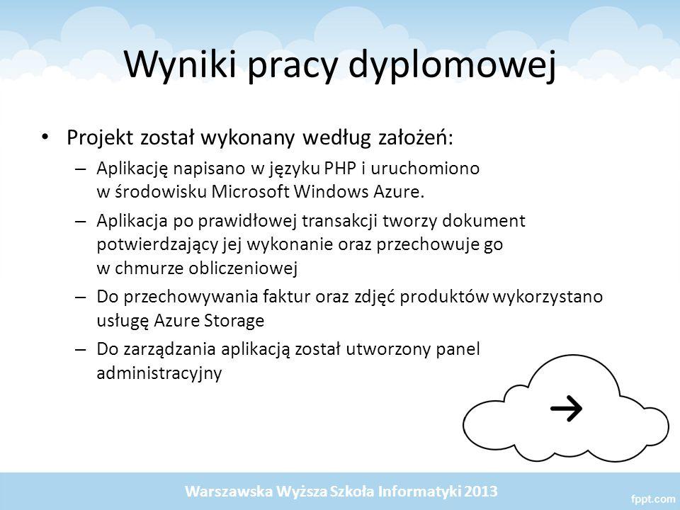 Wyniki pracy dyplomowej Projekt został wykonany według założeń: – Aplikację napisano w języku PHP i uruchomiono w środowisku Microsoft Windows Azure.
