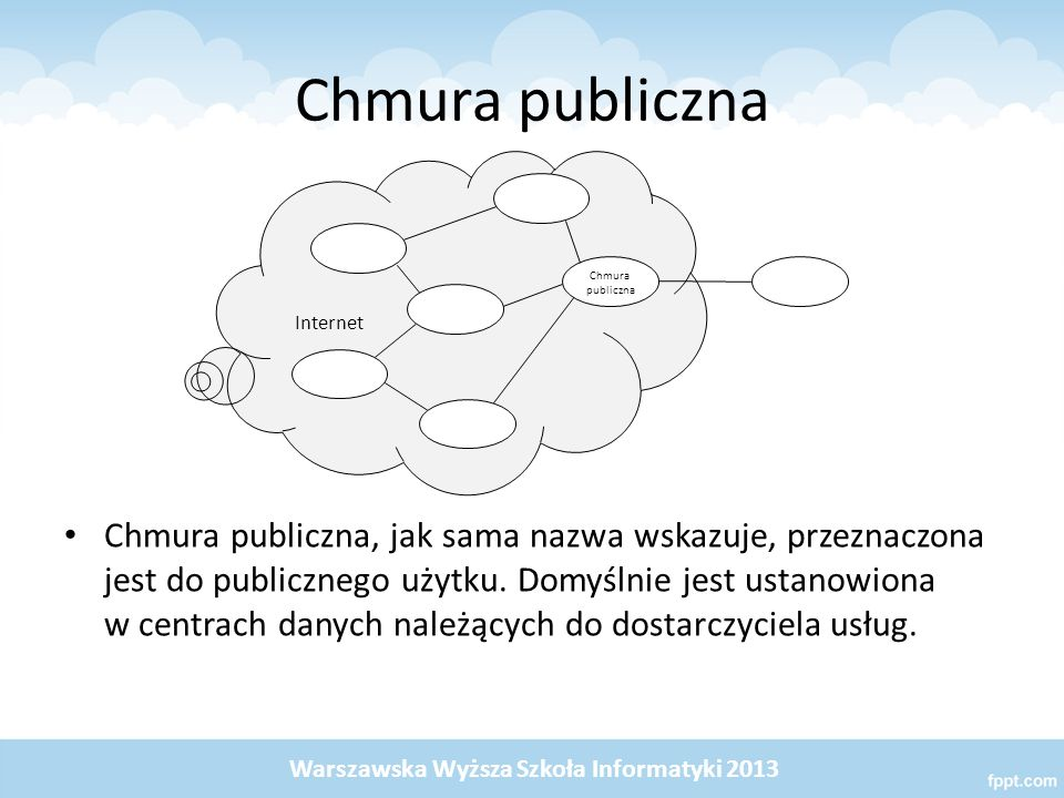 Chmura publiczna Chmura publiczna, jak sama nazwa wskazuje, przeznaczona jest do publicznego użytku. Domyślnie jest ustanowiona w centrach danych nale