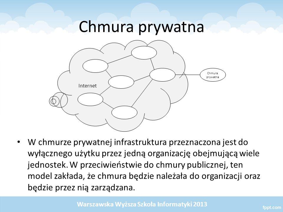 Chmura hybrydowa Chmurą hybrydową nazywamy twór, który powstaje z połączenia niektórych cech chmury prywatnej, publicznej lub społeczności, które pozostając odrębnymi jednostkami, są połączone przez łącze technologiczne, które umożliwia wymianę danych i przenośność aplikacji pomiędzy chmurami.
