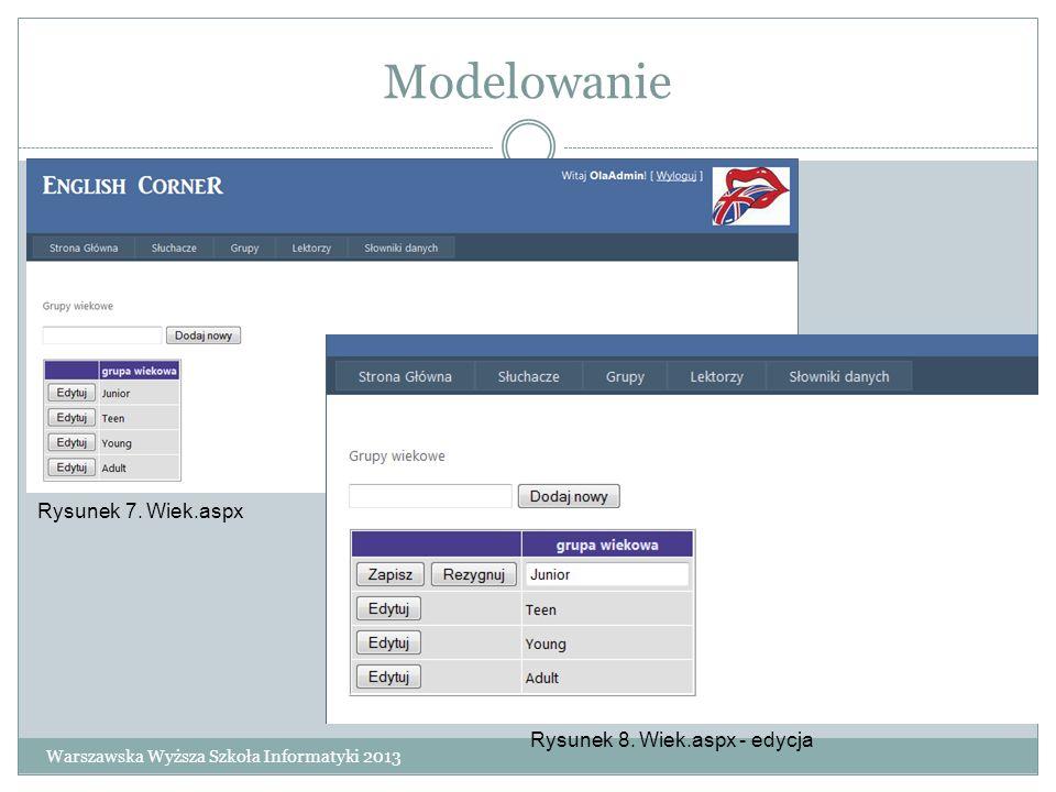 Modelowanie Warszawska Wyższa Szkoła Informatyki 2013 Rysunek 7. Wiek.aspx Rysunek 8. Wiek.aspx - edycja