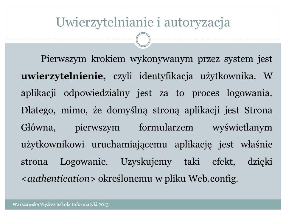 Uwierzytelnianie i autoryzacja Pierwszym krokiem wykonywanym przez system jest uwierzytelnienie, czyli identyfikacja użytkownika. W aplikacji odpowied