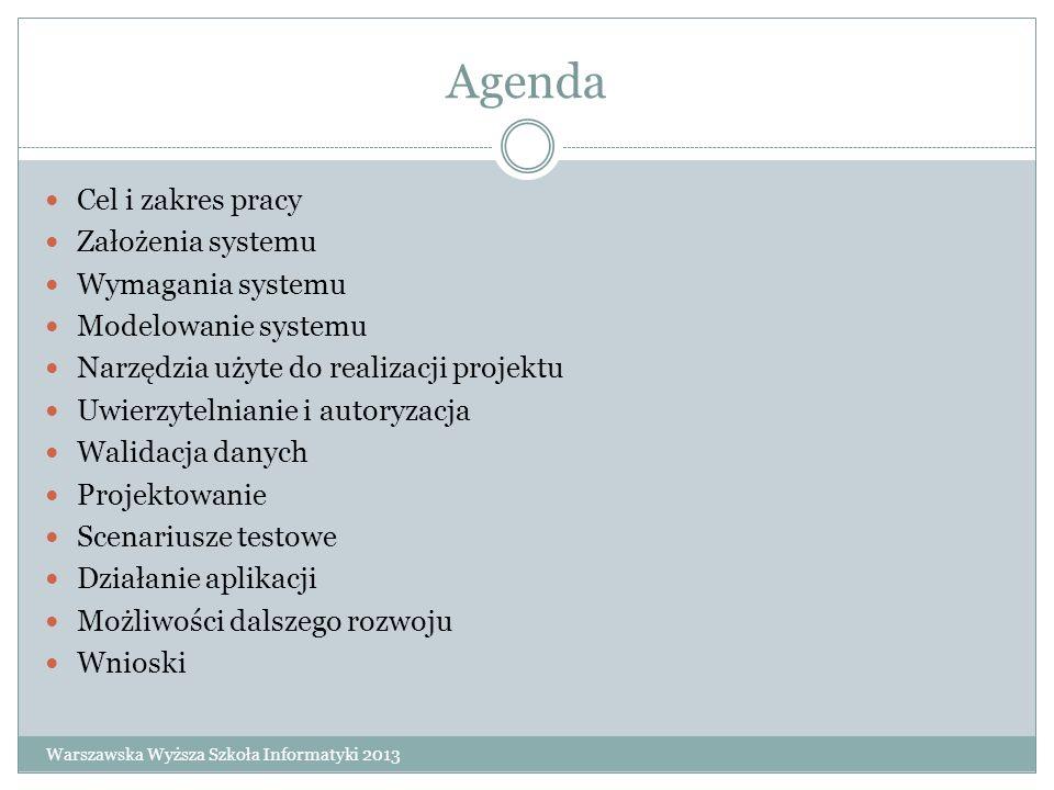 Agenda Cel i zakres pracy Założenia systemu Wymagania systemu Modelowanie systemu Narzędzia użyte do realizacji projektu Uwierzytelnianie i autoryzacj