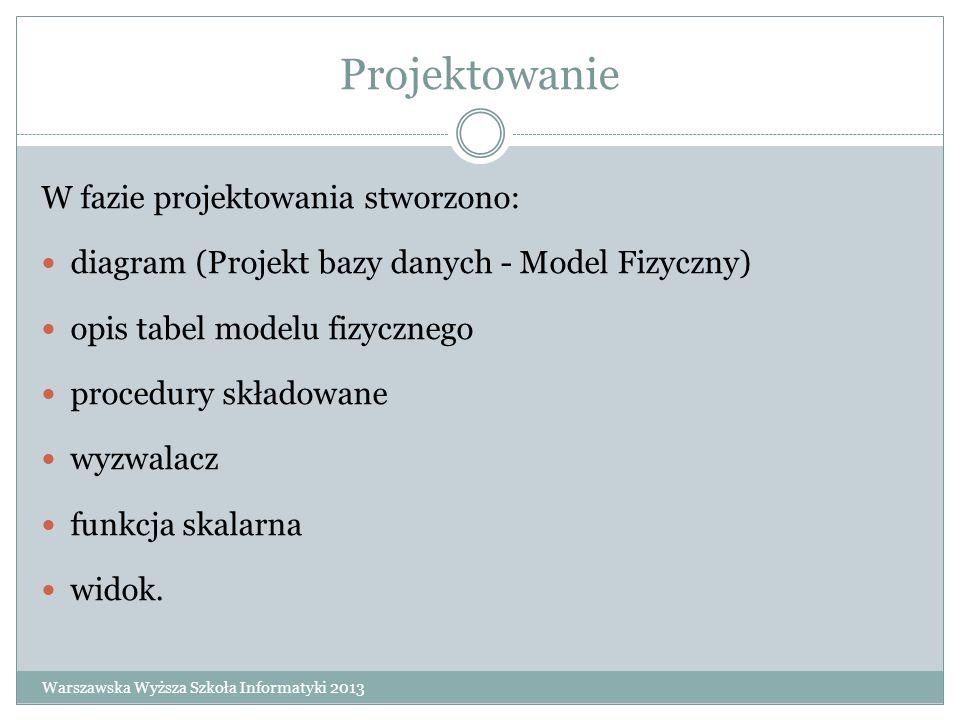 Projektowanie W fazie projektowania stworzono: diagram (Projekt bazy danych - Model Fizyczny) opis tabel modelu fizycznego procedury składowane wyzwal