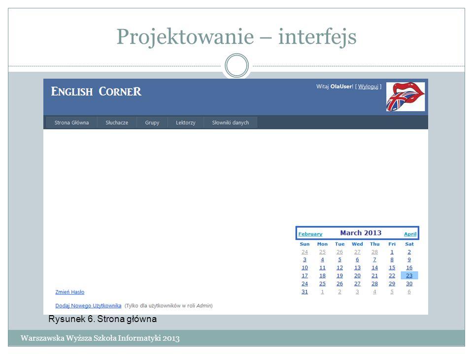 Projektowanie – interfejs Warszawska Wyższa Szkoła Informatyki 2013 Rysunek 6. Strona główna