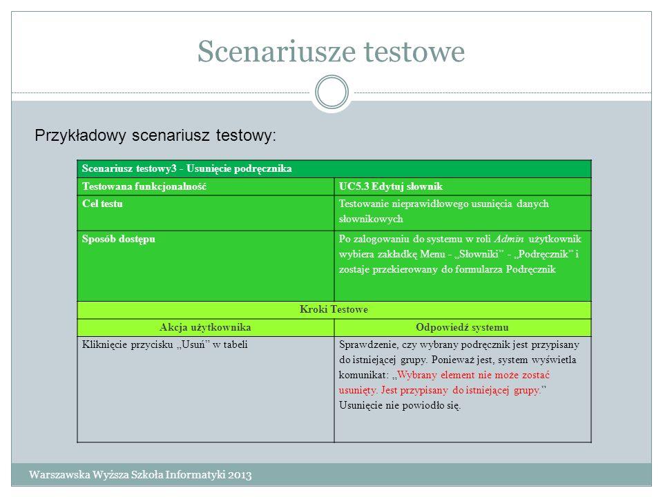 Scenariusze testowe Scenariusz testowy3 - Usunięcie podręcznika Testowana funkcjonalnośćUC5.3 Edytuj słownik Cel testu Testowanie nieprawidłowego usun