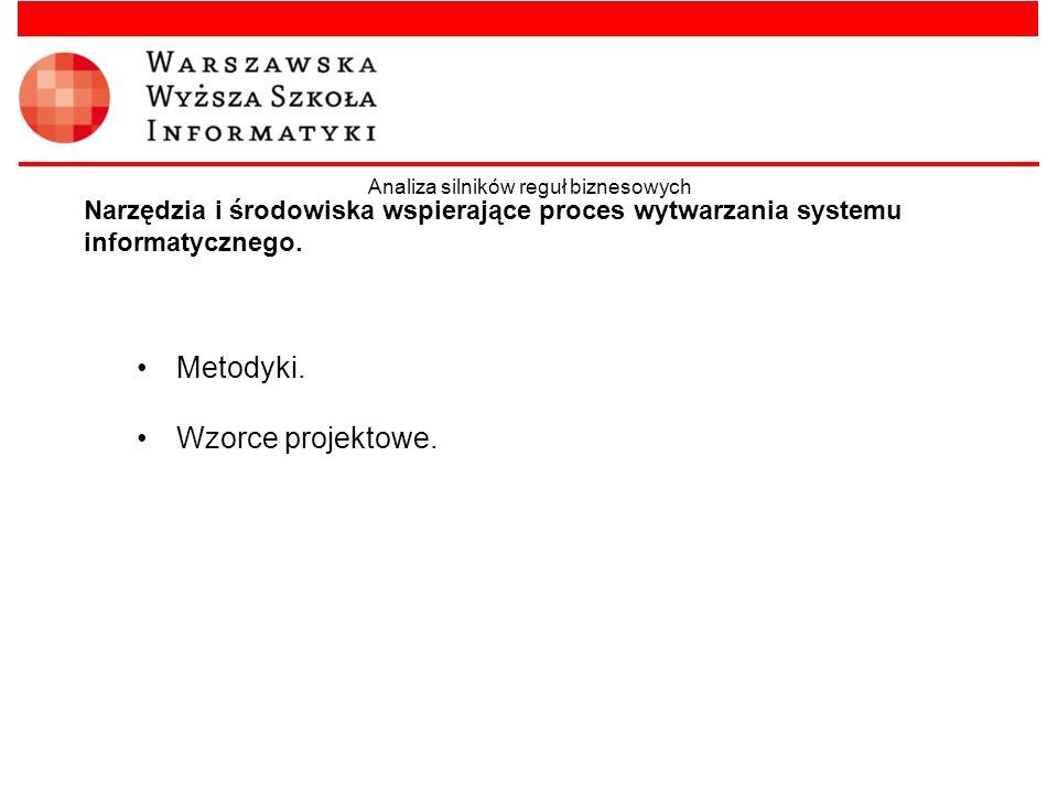 Narzędzia i środowiska wspierające proces wytwarzania systemu informatycznego. Metodyki. Wzorce projektowe. Analiza silników reguł biznesowych