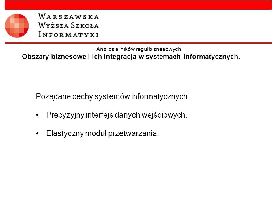 Obszary biznesowe i ich integracja w systemach informatycznych. Pożądane cechy systemów informatycznych Precyzyjny interfejs danych wejściowych. Elast