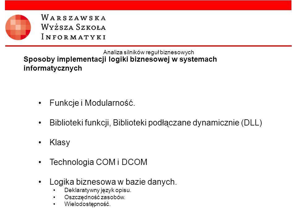 Sposoby implementacji logiki biznesowej w systemach informatycznych Funkcje i Modularność. Biblioteki funkcji, Biblioteki podłączane dynamicznie (DLL)