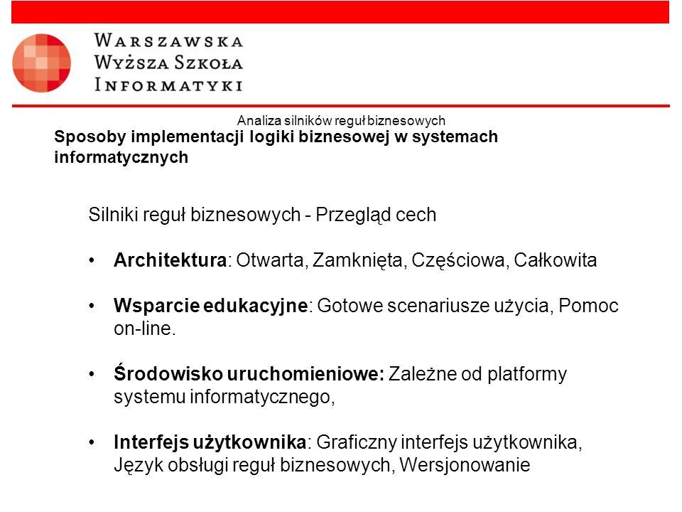 Silniki reguł biznesowych - Przegląd cech Architektura: Otwarta, Zamknięta, Częściowa, Całkowita Wsparcie edukacyjne: Gotowe scenariusze użycia, Pomoc