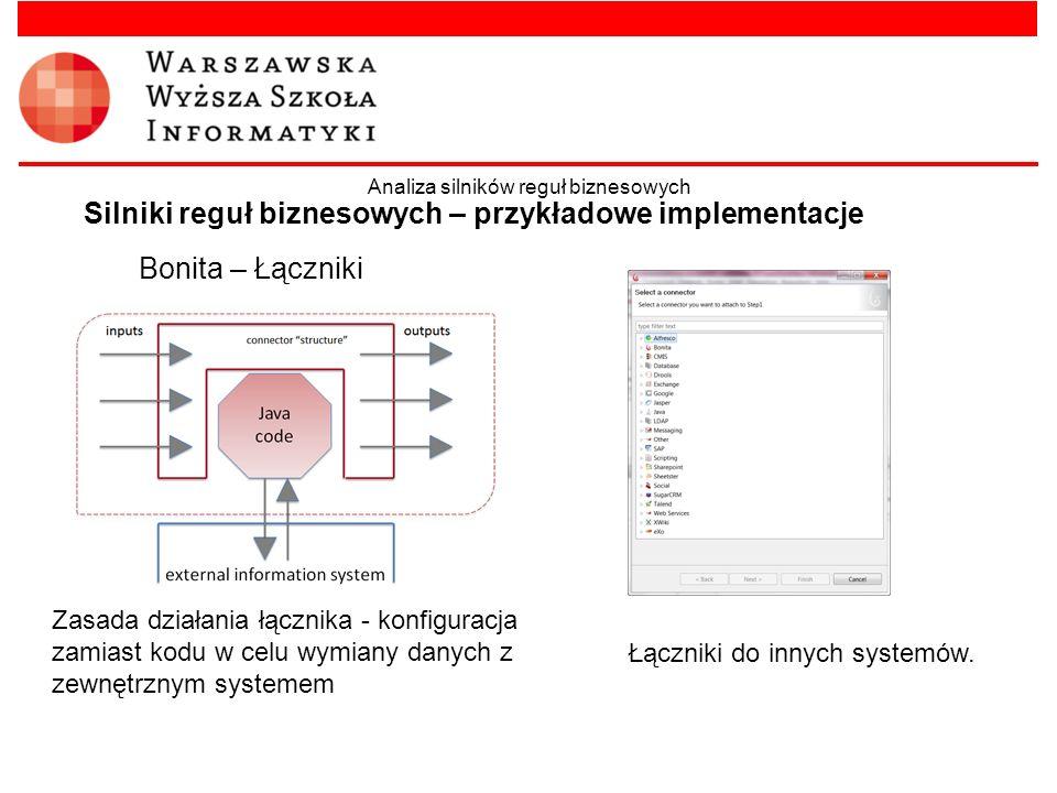Bonita – Łączniki Silniki reguł biznesowych – przykładowe implementacje Analiza silników reguł biznesowych Zasada działania łącznika - konfiguracja za