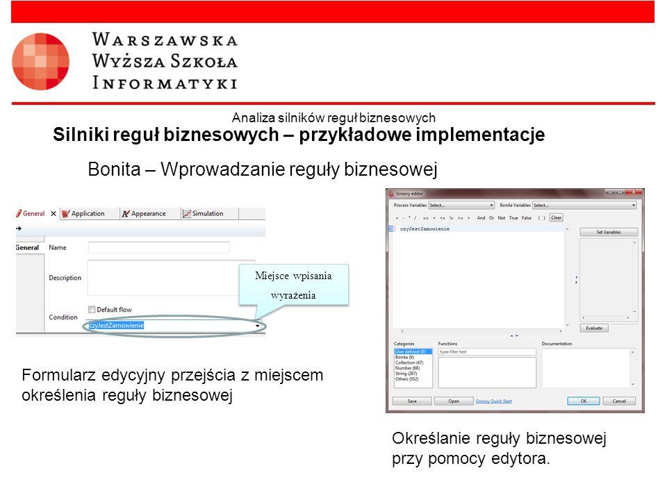 Bonita – Wprowadzanie reguły biznesowej Silniki reguł biznesowych – przykładowe implementacje Analiza silników reguł biznesowych Miejsce wpisania wyra