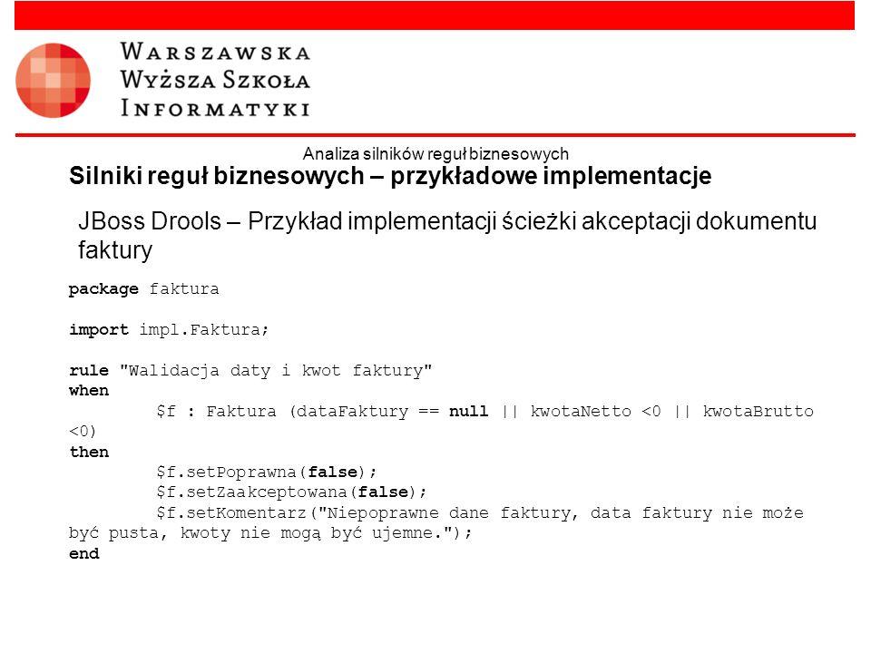 JBoss Drools – Przykład implementacji ścieżki akceptacji dokumentu faktury Silniki reguł biznesowych – przykładowe implementacje Analiza silników regu
