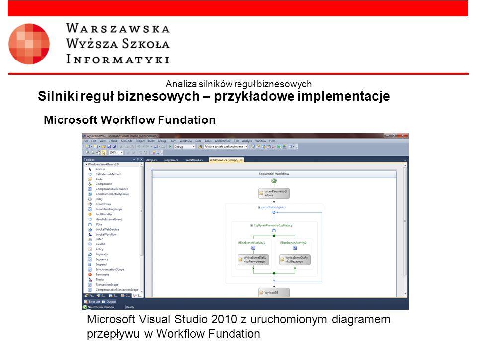 Microsoft Workflow Fundation Silniki reguł biznesowych – przykładowe implementacje Analiza silników reguł biznesowych Microsoft Visual Studio 2010 z u