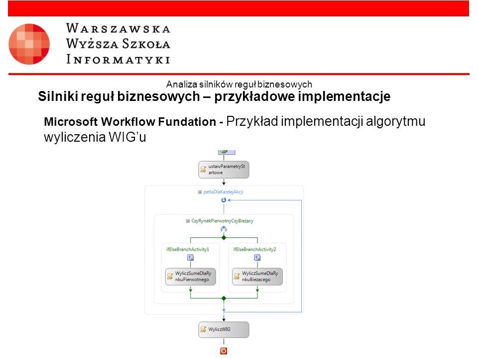 Microsoft Workflow Fundation - Przykład implementacji algorytmu wyliczenia WIGu Silniki reguł biznesowych – przykładowe implementacje Analiza silników