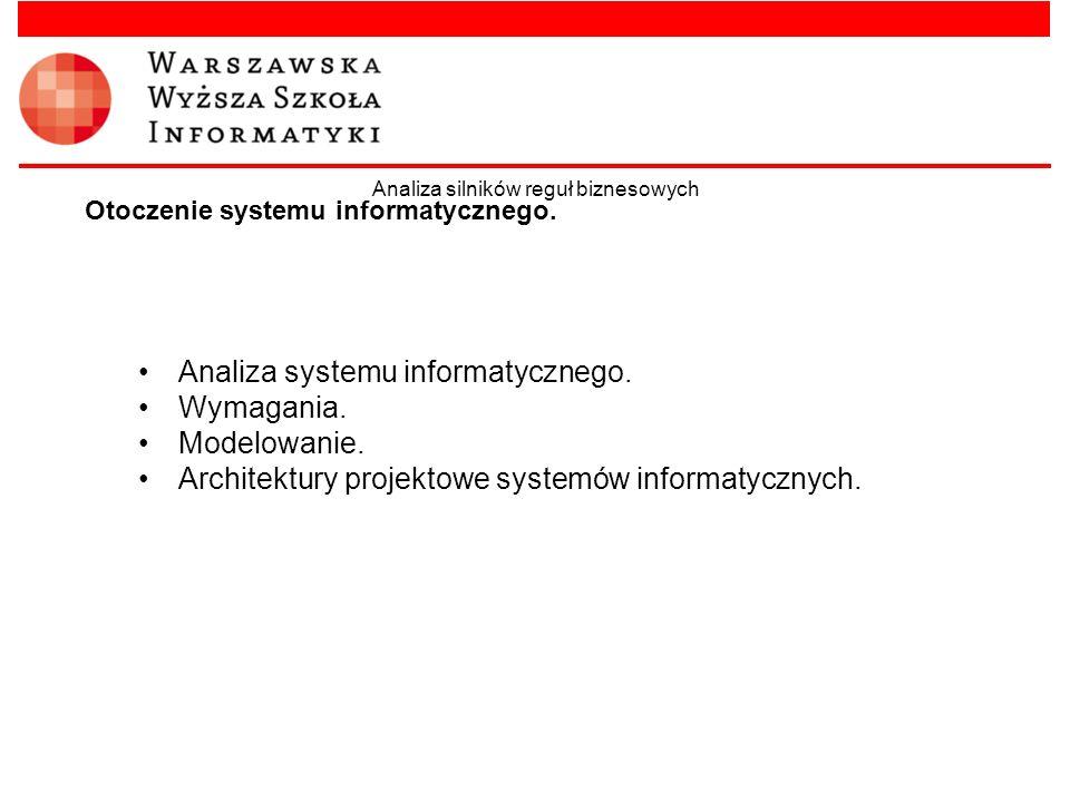Otoczenie systemu informatycznego. Analiza systemu informatycznego. Wymagania. Modelowanie. Architektury projektowe systemów informatycznych. Analiza