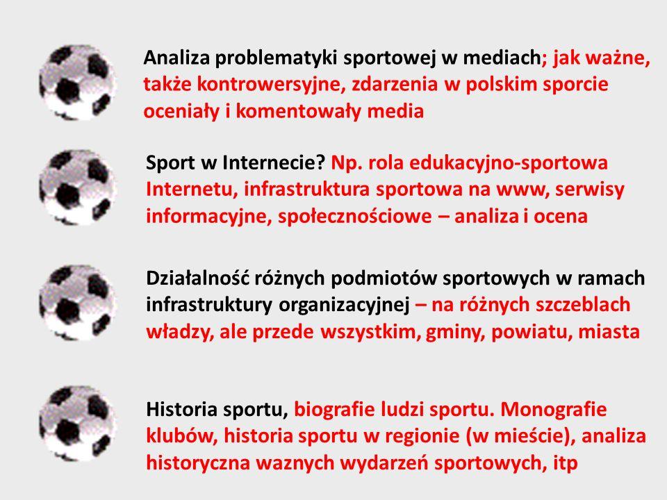 Analiza problematyki sportowej w mediach; jak ważne, także kontrowersyjne, zdarzenia w polskim sporcie oceniały i komentowały media Sport w Internecie.
