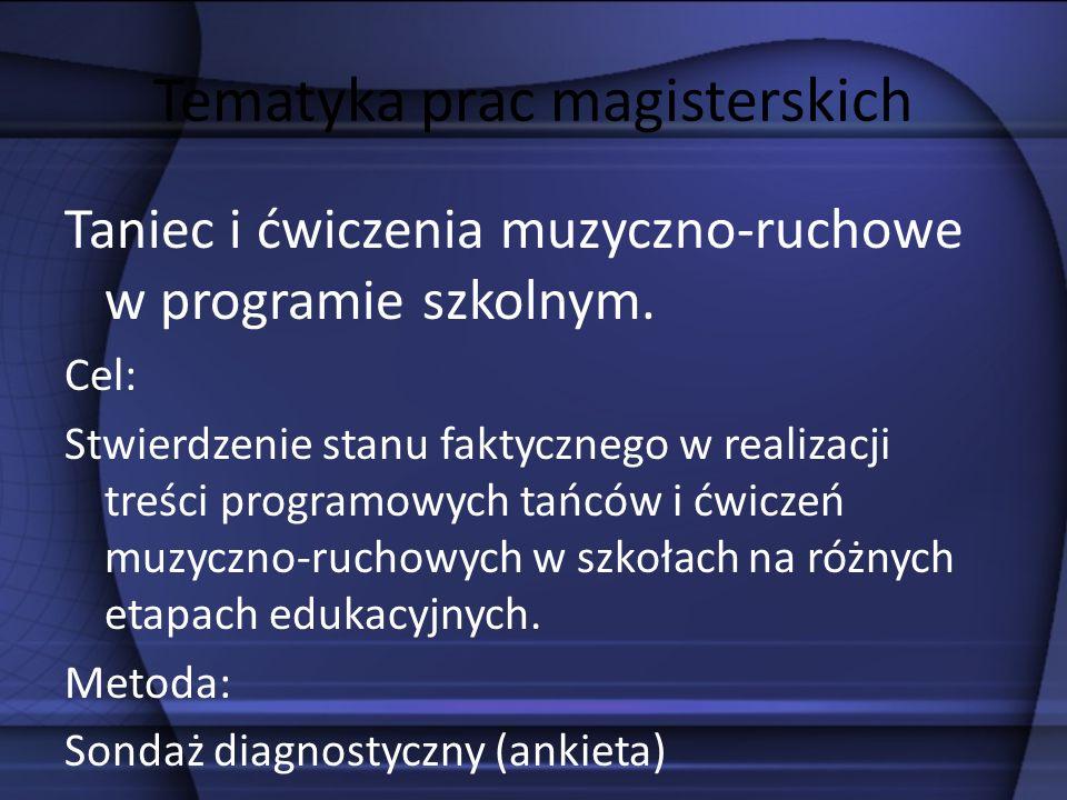 Tematyka prac magisterskich Taniec i ćwiczenia muzyczno-ruchowe w programie szkolnym. Cel: Stwierdzenie stanu faktycznego w realizacji treści programo