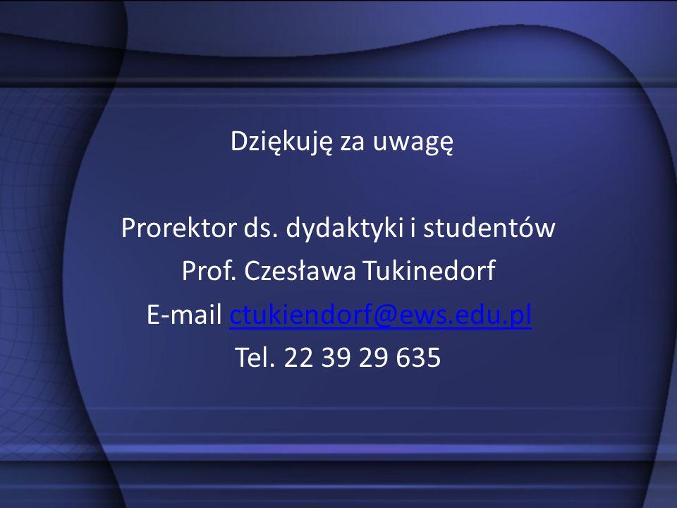 Dziękuję za uwagę Prorektor ds. dydaktyki i studentów Prof. Czesława Tukinedorf E-mail ctukiendorf@ews.edu.plctukiendorf@ews.edu.pl Tel. 22 39 29 635