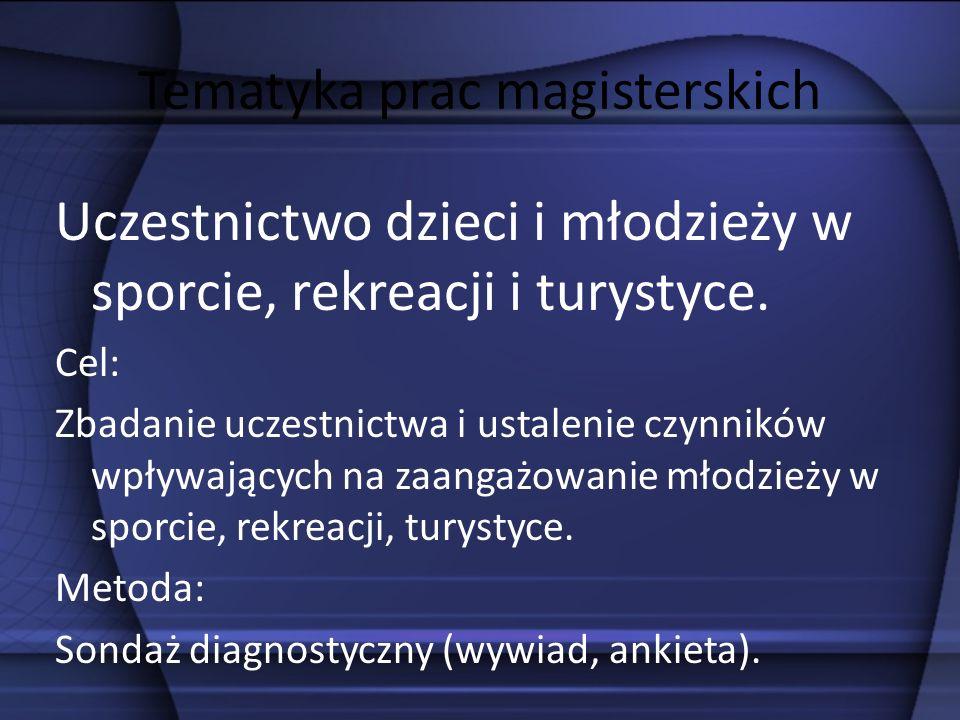 Tematyka prac magisterskich Rola i uczestnictwo w Paraolimpiadzie i Olimpiadach Specjalnych.