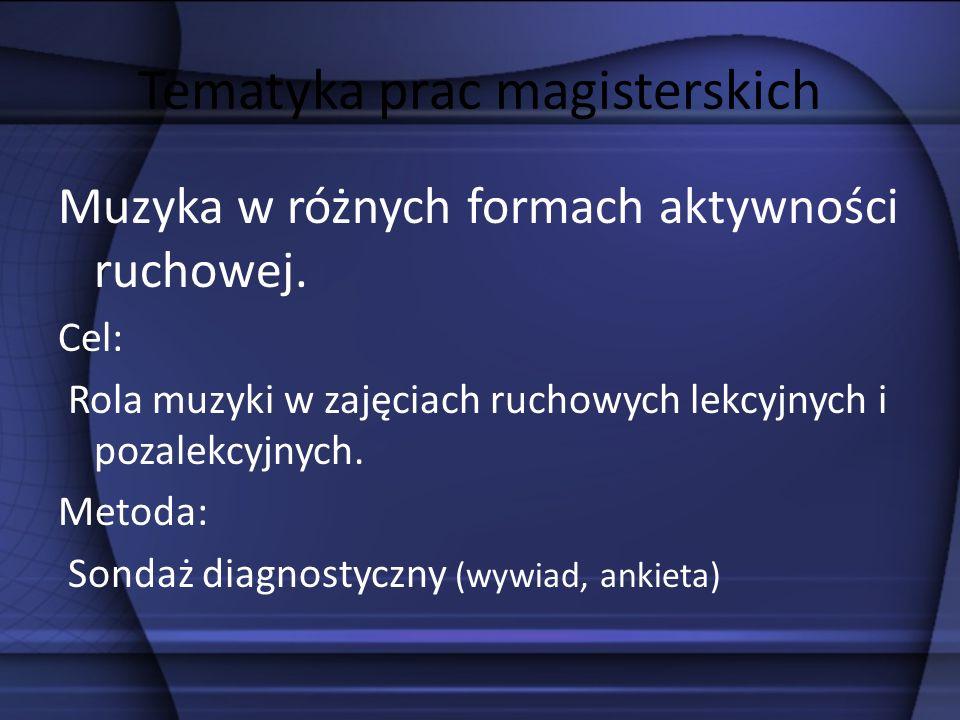 Tematyka prac magisterskich Taniec i ćwiczenia muzyczno-ruchowe w programie szkolnym.