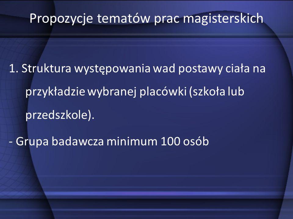 Propozycje tematów prac magisterskich 1.