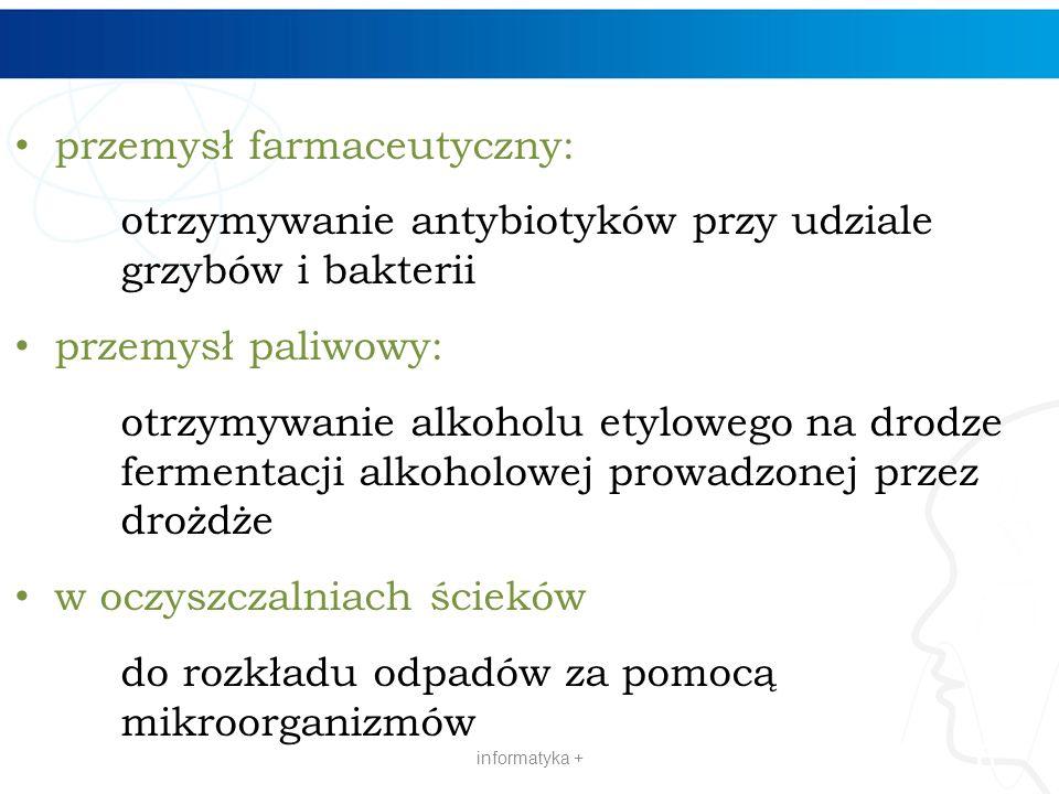 przemysł farmaceutyczny: otrzymywanie antybiotyków przy udziale grzybów i bakterii przemysł paliwowy: otrzymywanie alkoholu etylowego na drodze fermen