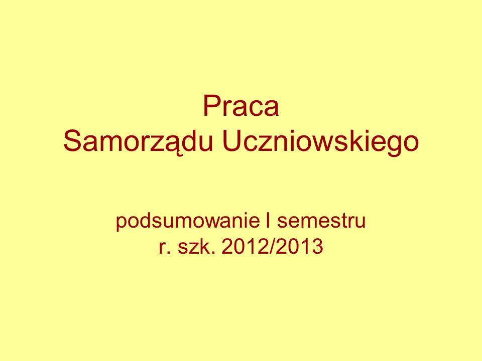 Praca Samorządu Uczniowskiego podsumowanie I semestru r. szk. 2012/2013