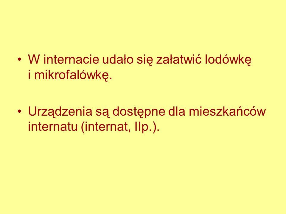 W internacie udało się załatwić lodówkę i mikrofalówkę. Urządzenia są dostępne dla mieszkańców internatu (internat, IIp.).