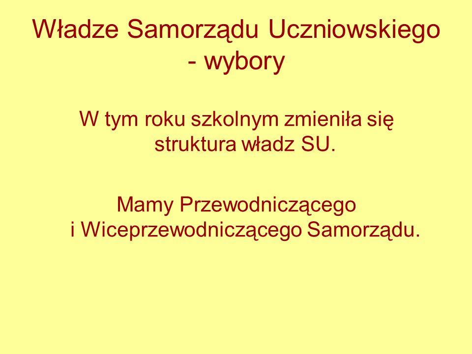 Władze Samorządu Uczniowskiego - wybory W tym roku szkolnym zmieniła się struktura władz SU. Mamy Przewodniczącego i Wiceprzewodniczącego Samorządu.