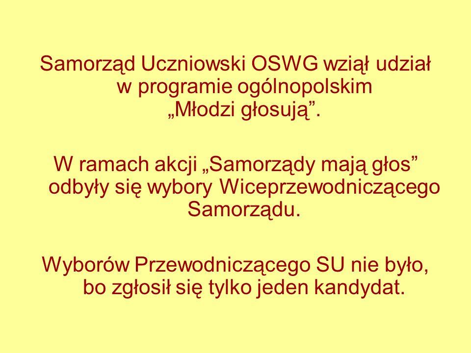 Samorząd Uczniowski OSWG wziął udział w programie ogólnopolskim Młodzi głosują. W ramach akcji Samorządy mają głos odbyły się wybory Wiceprzewodnicząc