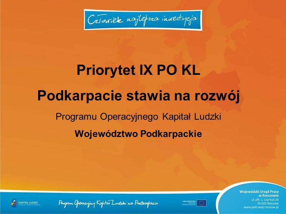 Priorytet IX PO KL Podkarpacie stawia na rozwój Programu Operacyjnego Kapitał Ludzki Województwo Podkarpackie